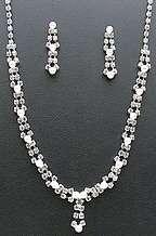 Rhinestone Pearl Necklace Set Wedding Bride Bridesmaid