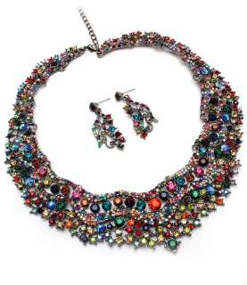 GLAMOROUS MULTICOLOR CRYSTAL NECKLACE AND EARRING SET