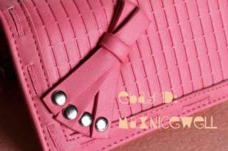 Womens Button PU Leather Bowknot Weaving Wallet Clutch Purse Lady