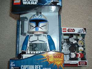 NEW Lego Star Wars CAPTAIN REX Clock or STORMTROOPER watch w