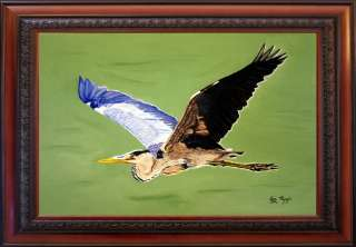 Painting by Ezi Algazi   Blue Heron   Bird in flight Parkland Florida