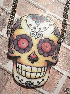 DAY OF THE DEAD SUGAR SKULL NECKLACE PSYCHOBILLY