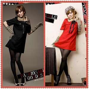 Korean Women Sweet Removable Fur Collar Woolen Slim Short Sleeve Dress