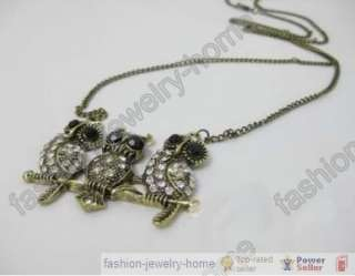 Fashio Vintage Bronzed clear crystal owl Necklace chain