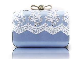 Bling Bling Party Clutch Light Blue White Lace Diamond Bow Wedding