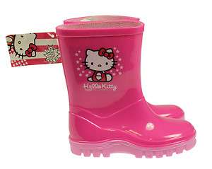 GIRLS PINK HELLO KITTY WELLINGTON BOOTS UK SIZES 6 12