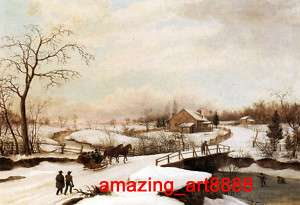 Oil Painting on canvas Philadelphia Winter Landscape