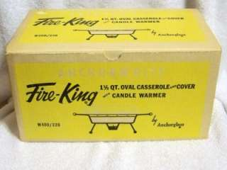 Fire King, Anchor White, 1 1/2 qt Oval Casserole