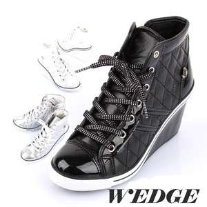 Womens GLOSSY LACE UP WEDGE HEEL SNEAKERS Shoes BLACK, WHITE, SILVER