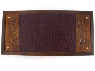 20 Big BACKGAMMON Set Hand Carved PANTHER Wood Leather