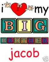 LOVE MY BIG BROTHER FUNNY Personalized Onesie & Bib