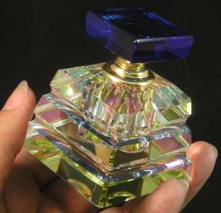 Essential Oil Vitrail Rainbow Multi Color Cut Glass Bottle