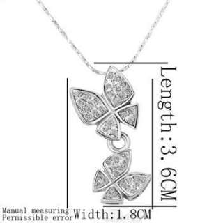 18K white Gold plated white gem Swarovski crystal butterfly Necklace