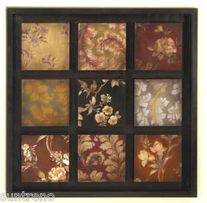 Floral Metal Wall Art Decor 32H 32W Wood Frame 758647130900