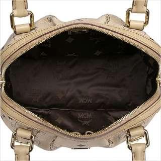 Brand New Authentic MCM Vintage VISETOS Boston Bag Small NWT_Beige