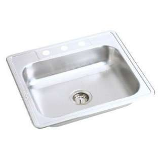 Mount Stainless Steel 25x21.25x7.0625 4 Hole Single Bowl Kitchen Sink
