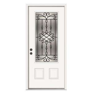 JELD WEN Sanibel 36 in. x 80 in. Primed White Prehung Right Hand