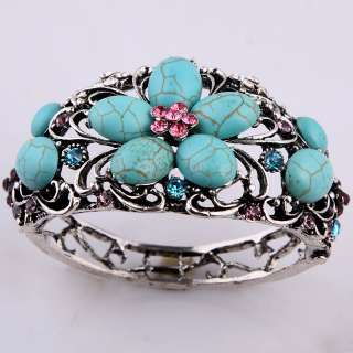 Pink Flower Blue Tear Turquoise Howlite Women Fashion Tibetan Silver