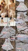 J405 Ladys retro Beige Ivory sleeveless tube dress Free size lace up