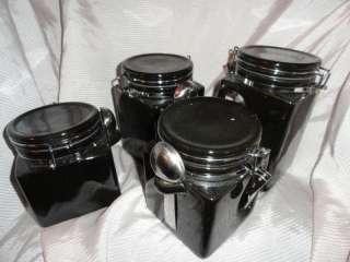 OGGI black 4 pc Cannister set, 4 different sizes, Ceram