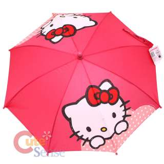 Sarino Hello Kitty Kids Umbrella   Love Pink Heart with Red Bow Figure