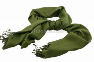 Olive Green Pashmina Style Scarf Shawl Wrap