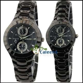 New SINOBI Luxury Quartz Men Women Watch Black Silver Stainless Steel