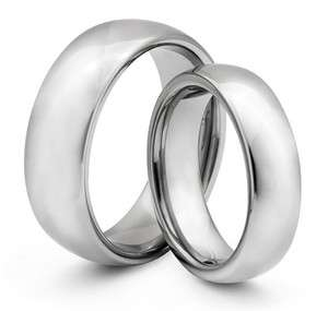 Hers 8MM/6MM Tungsten Carbide Classic Wedding Band Ring Set