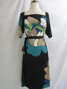 Jonathan Martin Black Turquoise MOD Flower Print Knit Sheath Boatneck