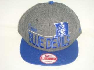 DUKE BLUE DEVILS NEW ERA NCAA SNAPBACK HAT CAP WOOL GREY/BLUE