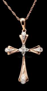 14K Rose Gold Diamond Cross Pendant Necklace w Chain