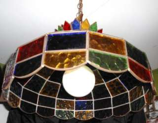 VTG TIFFANY STYLE STAINED GLASS HANGING SWAG LAMP