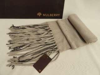 BNWT Auth Mulberry Wool Silk Grey Chain Trim Long Scarf   UNISEX