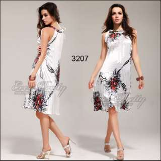 Round Neckline Reds Unique Floral Printed Ruffles Party Dress 03207RD