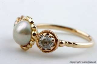 Perlenring in Gold Ring mit Perle u. 2 Diamanten antik