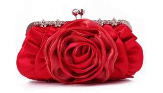 New flower Satin clutch purse evening bag cocktail party handbag