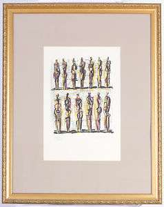 Henry Moore Thirteen Standing Figures Lithograph Printed in Colors