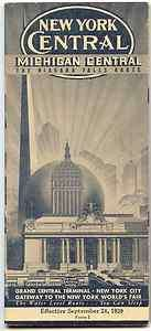 CENTRAL railroad brochure/timetable worlds fair 1939 minty michigan