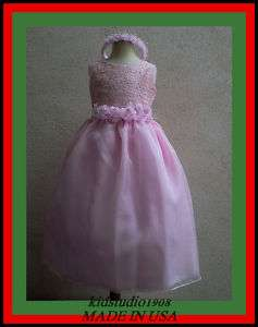 071 NEW PINK WEDDING CHILDREN PAGEANT FLOWER GIRL DRESS SIZE 2 4 6 8