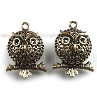 30x 141887 Wholesale Alloy Hollow Owl Charm Antique Bronze Pendant