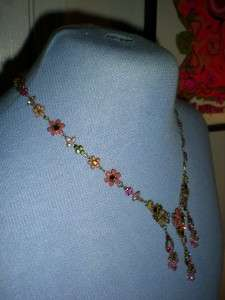 Fresh Flowers Collection Enameled Flower & Swarovski Crystal Necklace