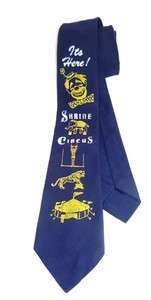 Shrine Circus   Hand Painted Clowns Tigers Elephants Skinny Mens Tie