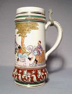 Antique Beer Stein Ceramic Matthias Girmscheid, 19th c.