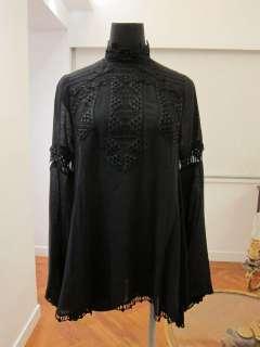 BNWT ANNA SUI BLACK PANELED LACE BLOUSE Sz 0