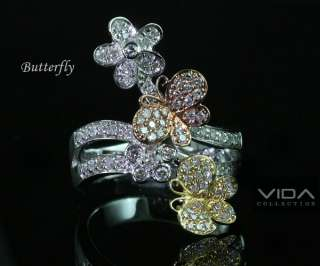14K Gold F/VS Butterfly Design Diamond Ring Exquisite