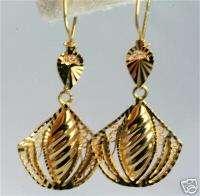 VINTAGE 14K GOLD LONG DANGLING FILIGREE EARRINGS