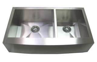 33 Farm APRON Kitchen Stainless Steel Sink CURVE Front