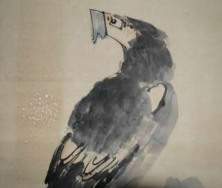 J354Chinese Scroll Painting of Eagle by Li Kuchan