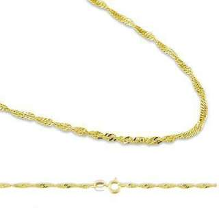 14k Yellow Gold Singapore Twist Chain Necklace .9mm 18