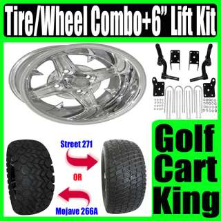 EZGO Golf Cart Lift Kit 12 Polish Wheel and Tire Combo